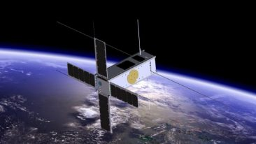 A satellite orbiting the Earth.