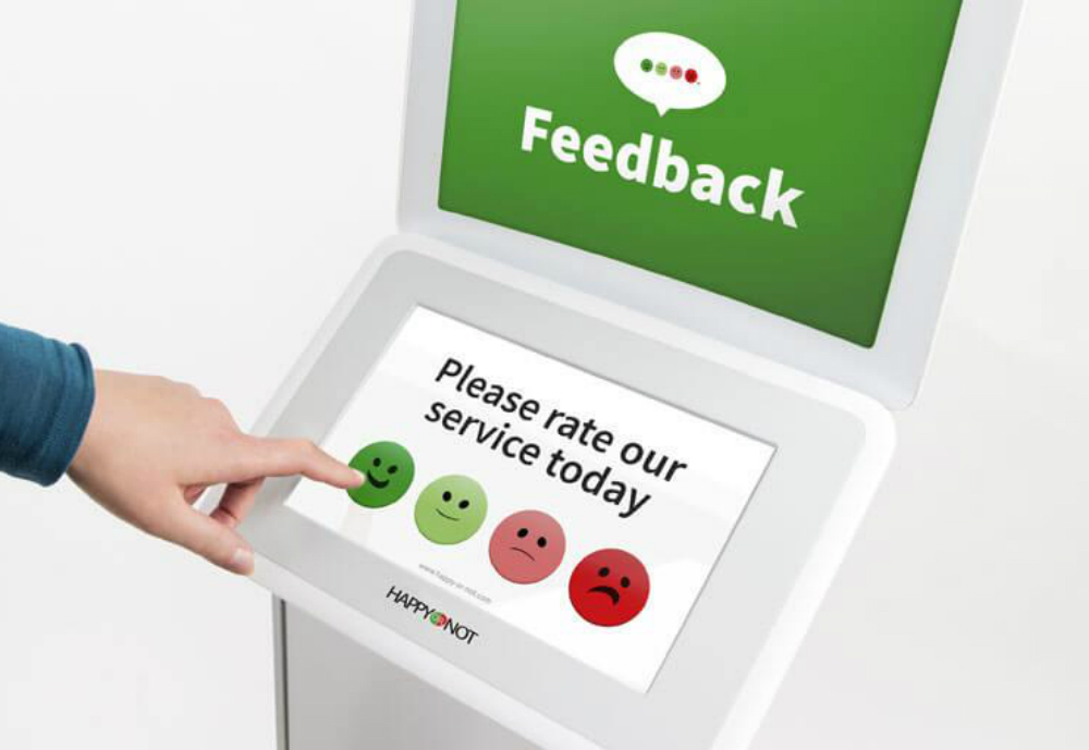 A feedback touch screen with smiley options