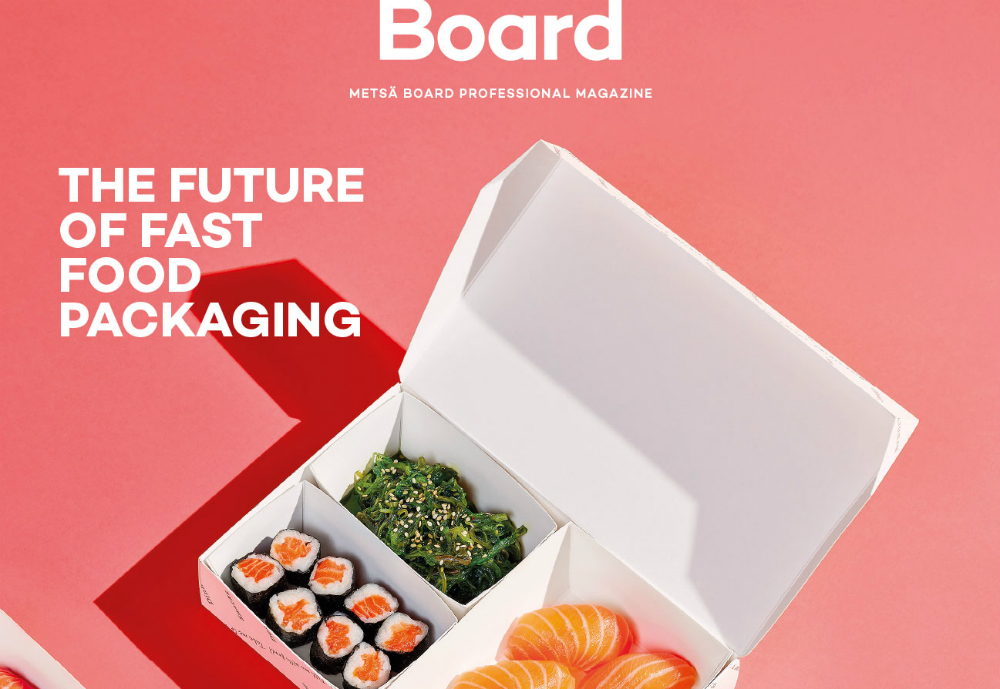 Metsä Board magazine cover featuring a sushi food container.