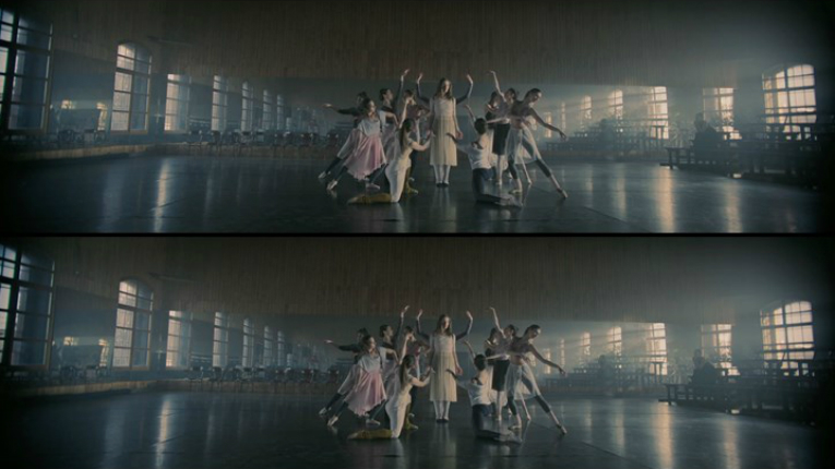 Split screen of dancers in different poses.