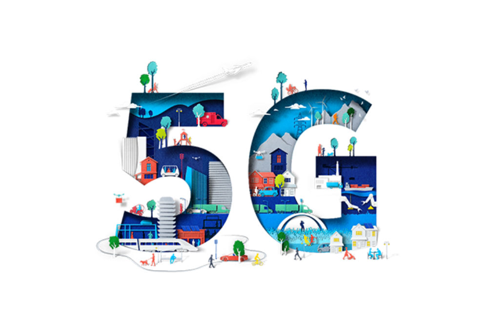 5G illustration with people and infrastructure inside the letter and number.