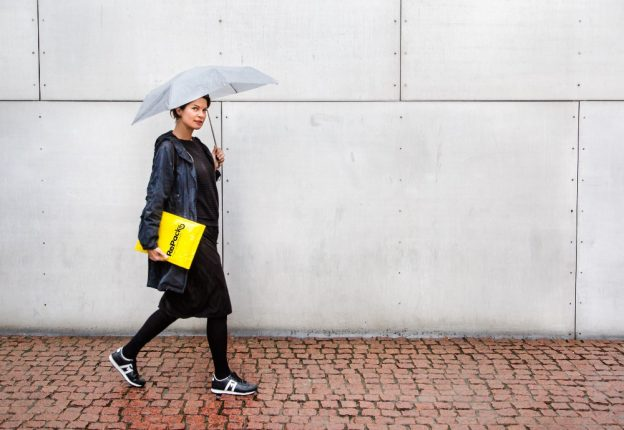 woman walking with parcel