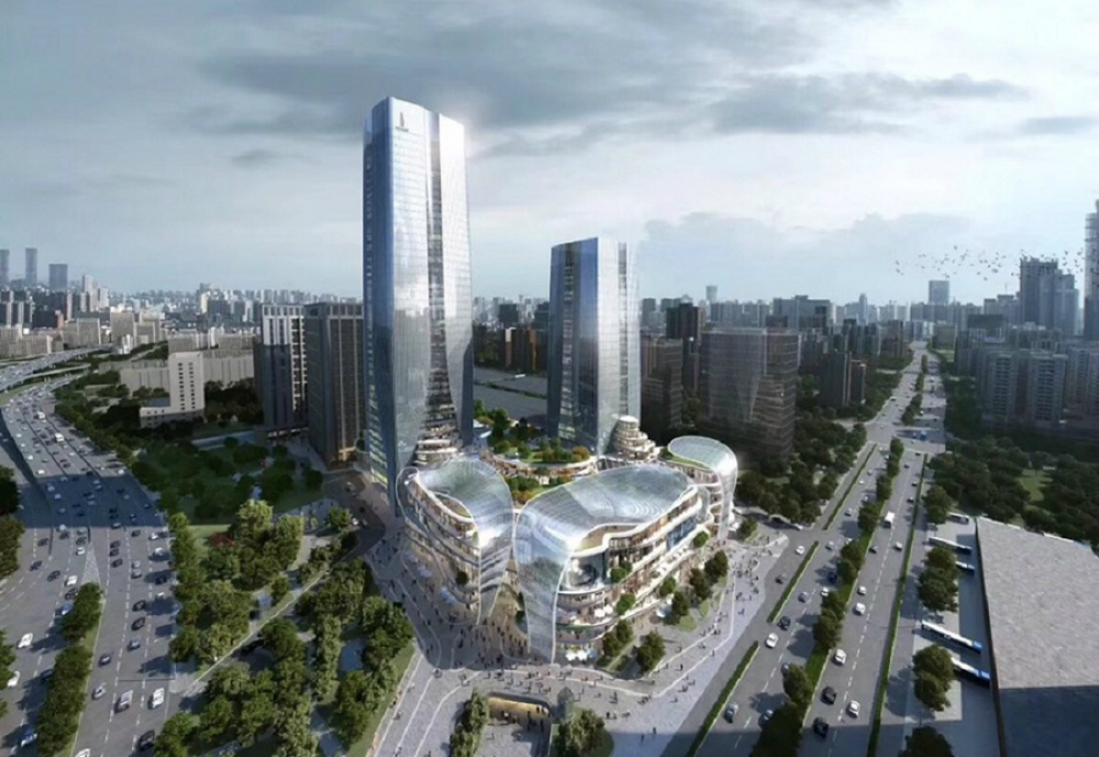 An illustration of two skyscrapers and a shopping mall.