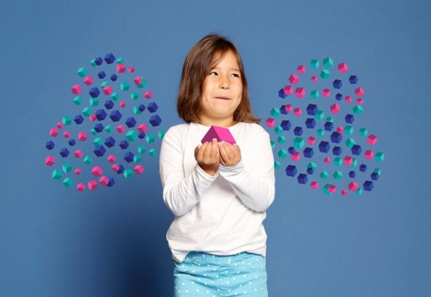 female child with hands cupped