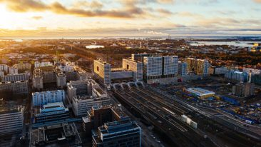 An aerial photo of downtown Helsinki.