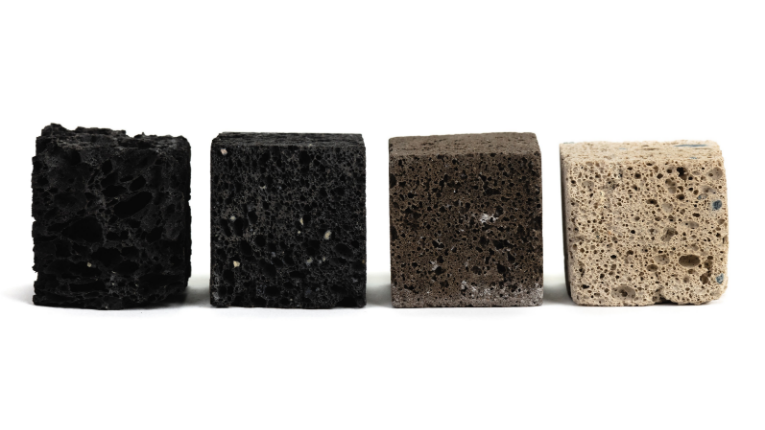 Different coloured chunks of construction material