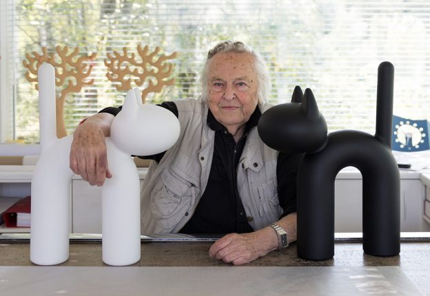 designer posing with his work