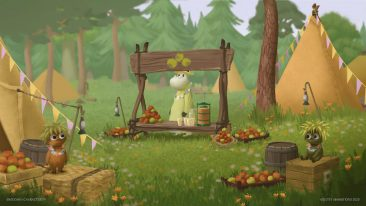 Animated figures in a camping ground