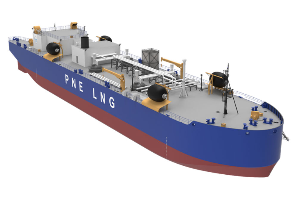 An illustration of a long LNG fuel vessel