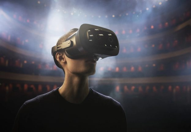 man with VR headset watching ballet