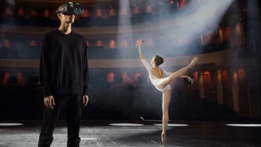 man with VR goggles and ballerina