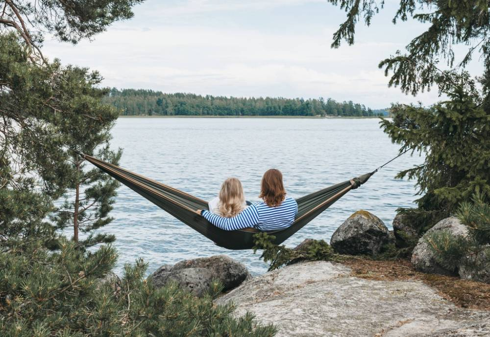man and woman on a hammock
