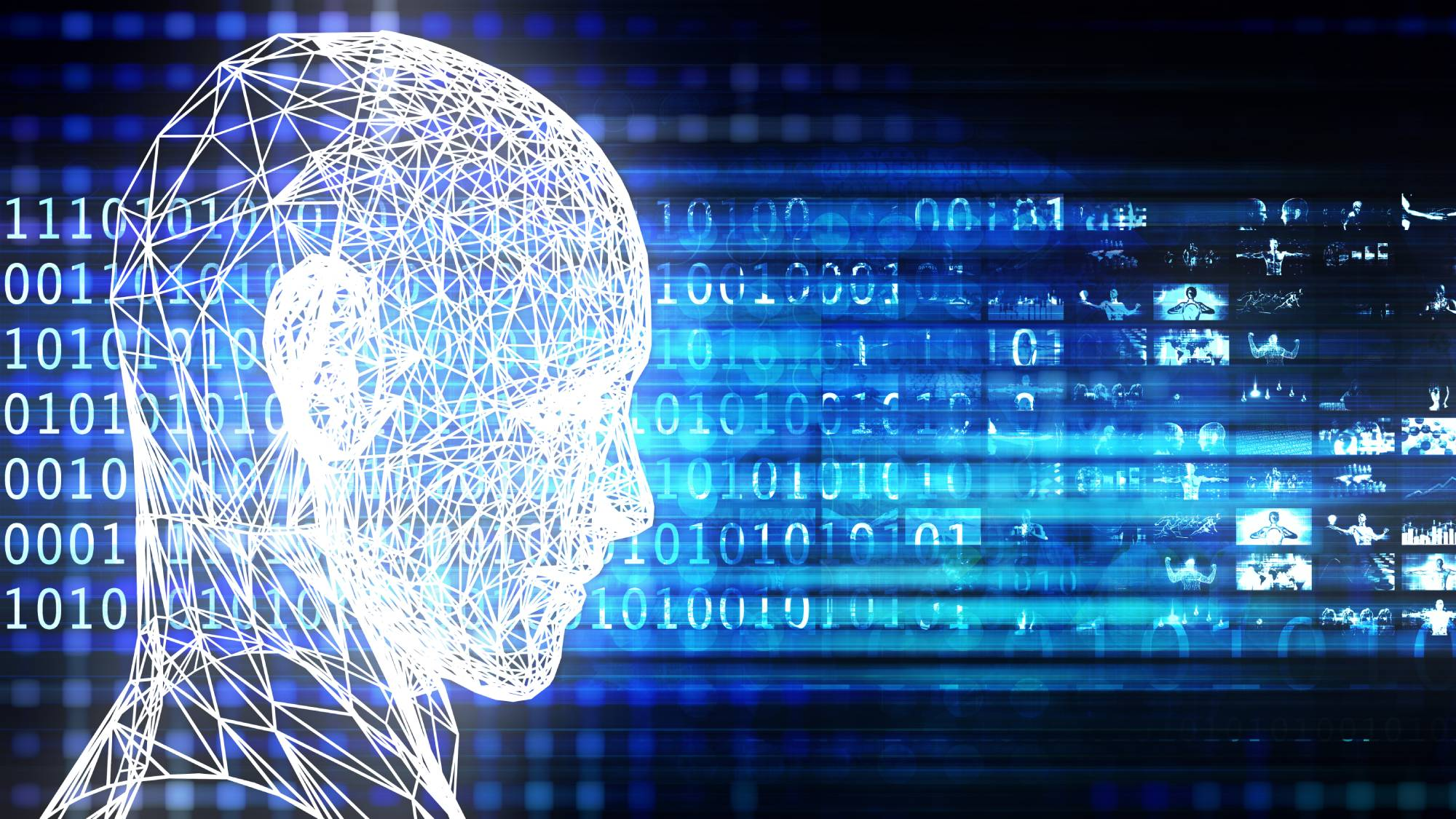A futuristic drawing of a human head against the backdrop of binary code and photos.