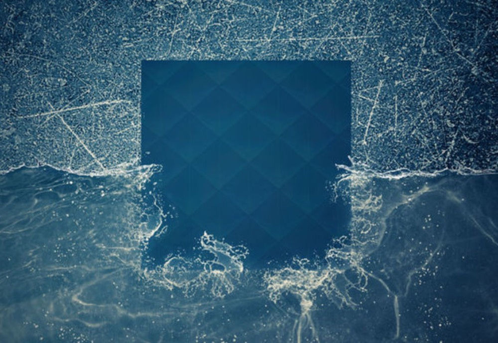 A portrayal of a square of material unaffected by water and stress.