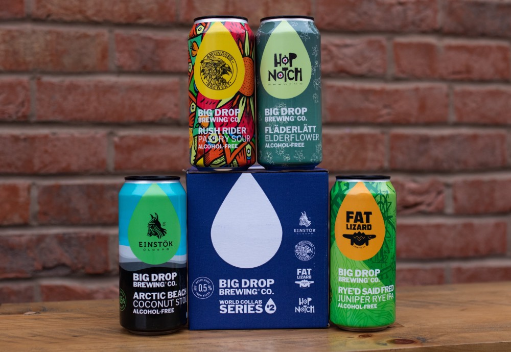 Four beer cans of Big Drop Brewing's new alcohol-free Nordic beer flavours