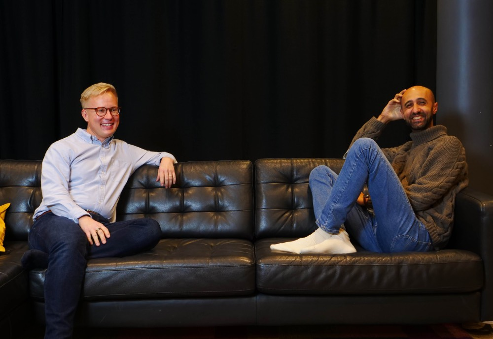 Calqulate co-founders Niko and Osama on a couch