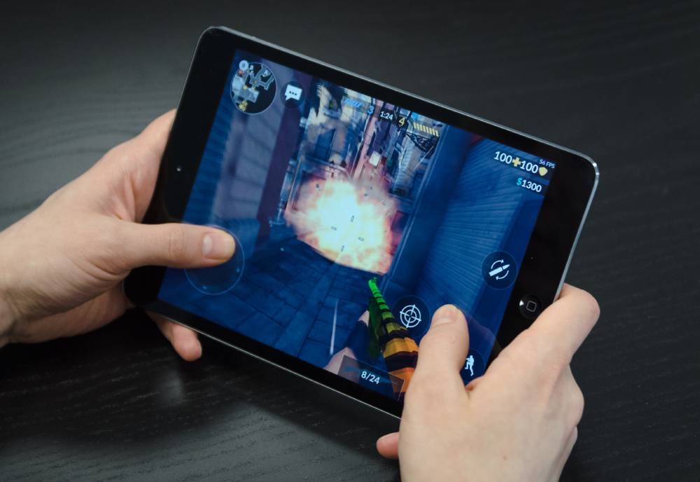 first-person-shooter game on a tablet