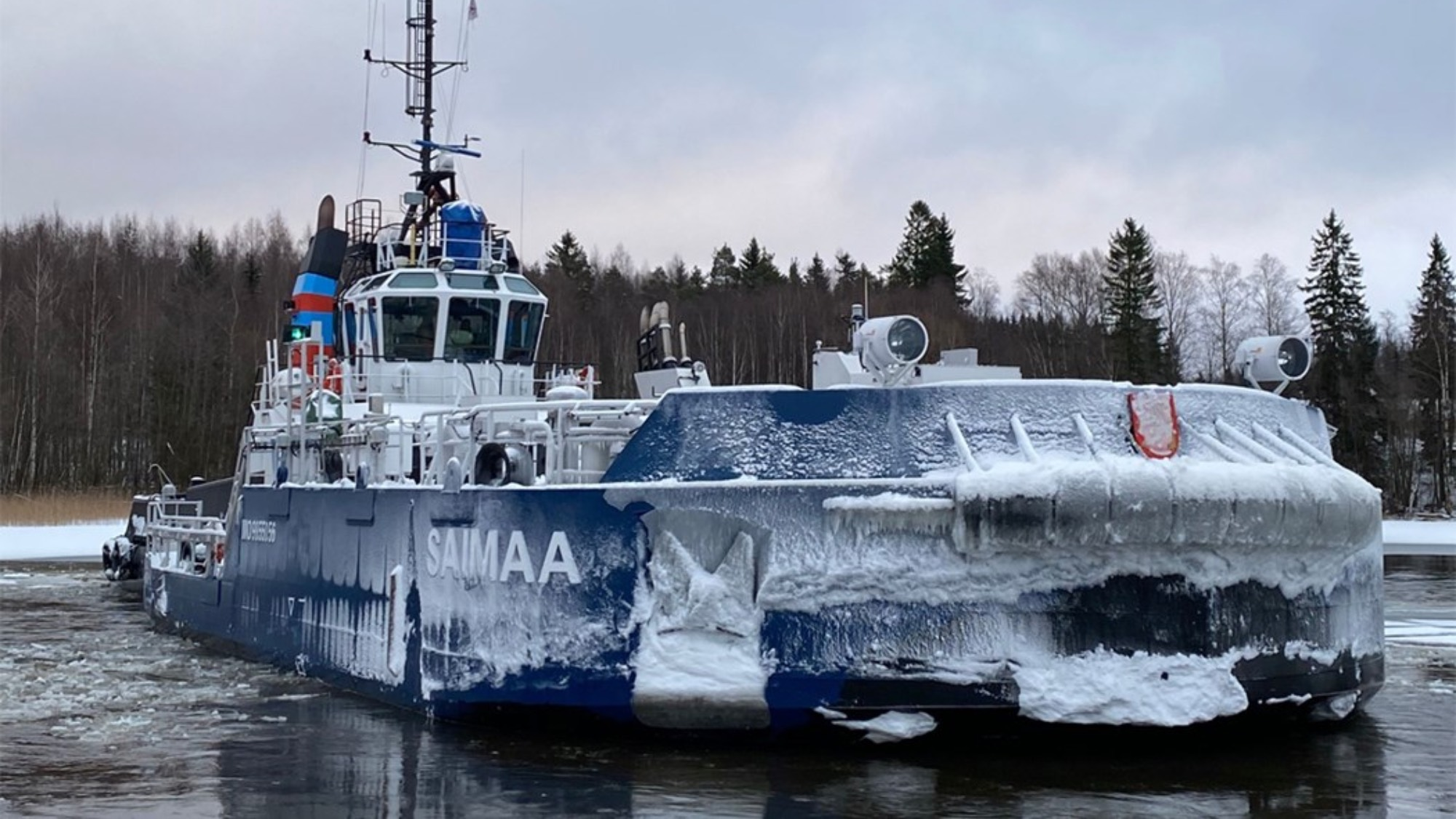 An ice breaker covered in ice