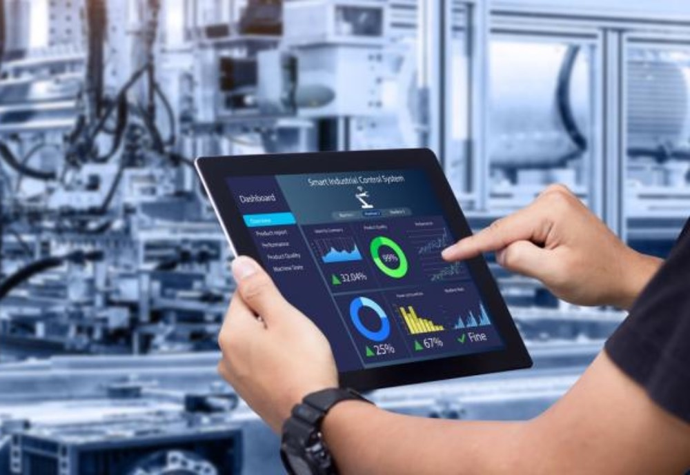 A tablet with industrial software