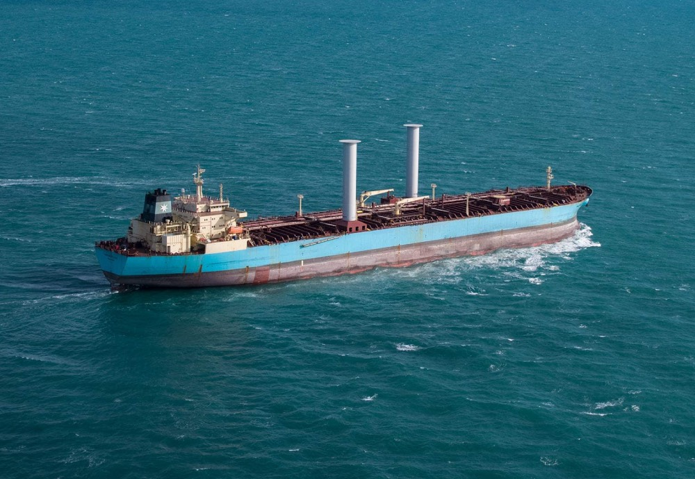 A tanker vessel with Norsepower rotor sails
