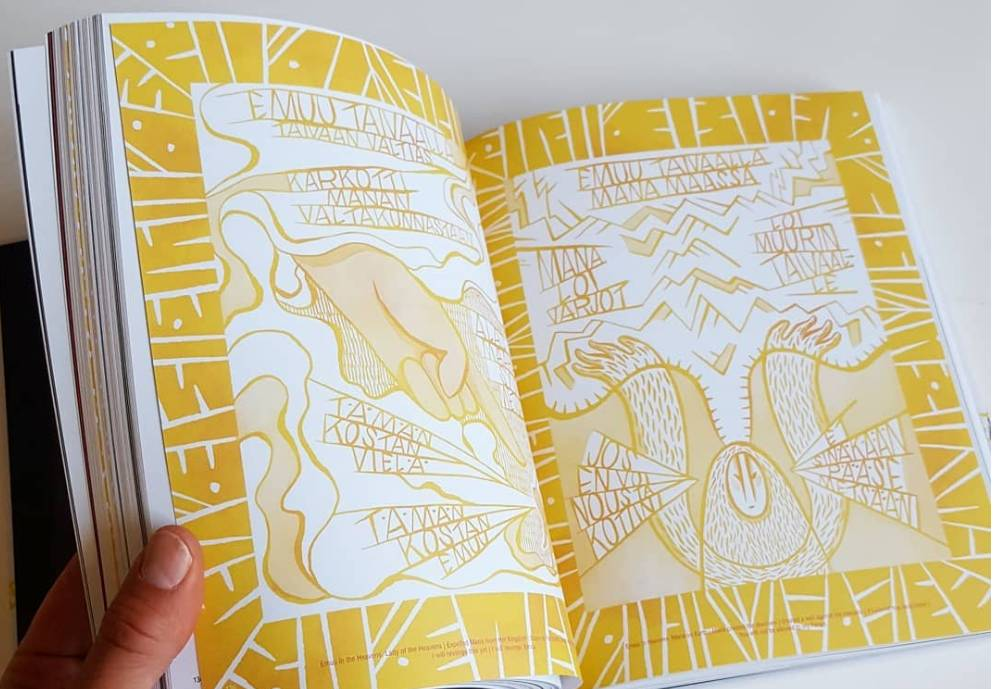 a bright yellow drawing in a book