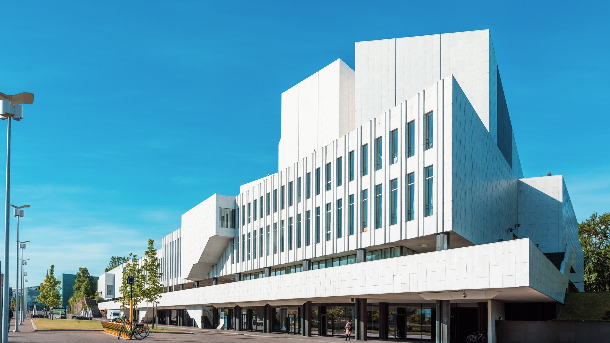 Finlandia Hall with a marble white façade