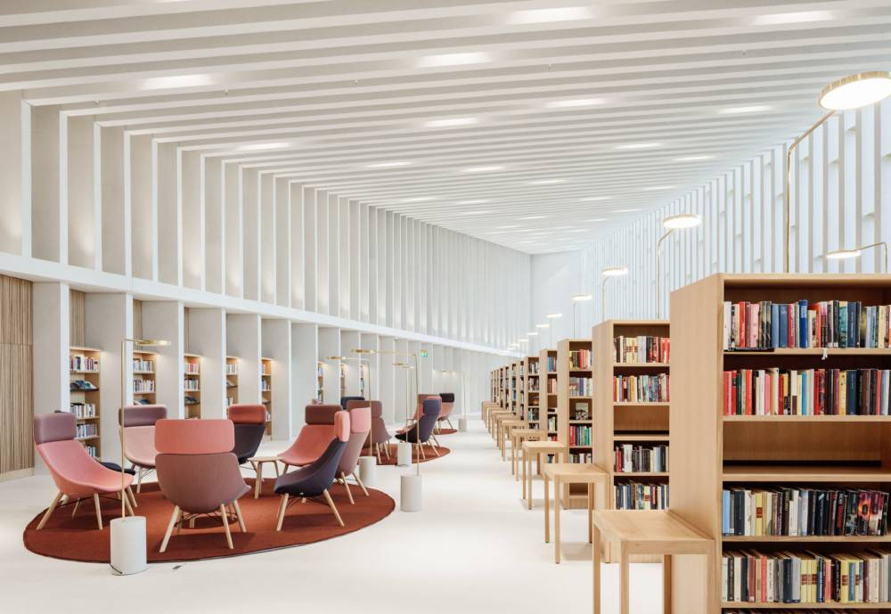 white reading room in a newly built library