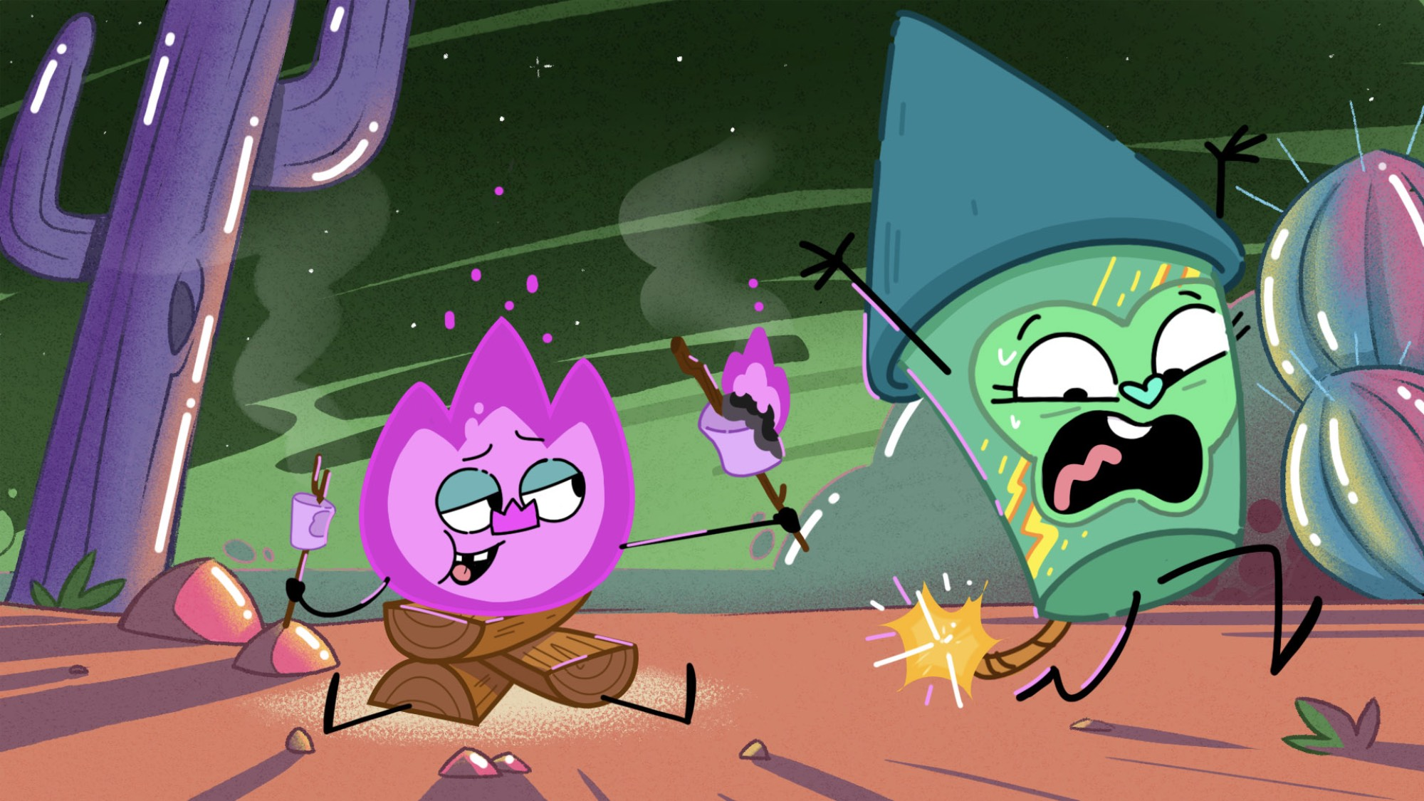 Animated characters Best and Bester transformed into fire and fireworks