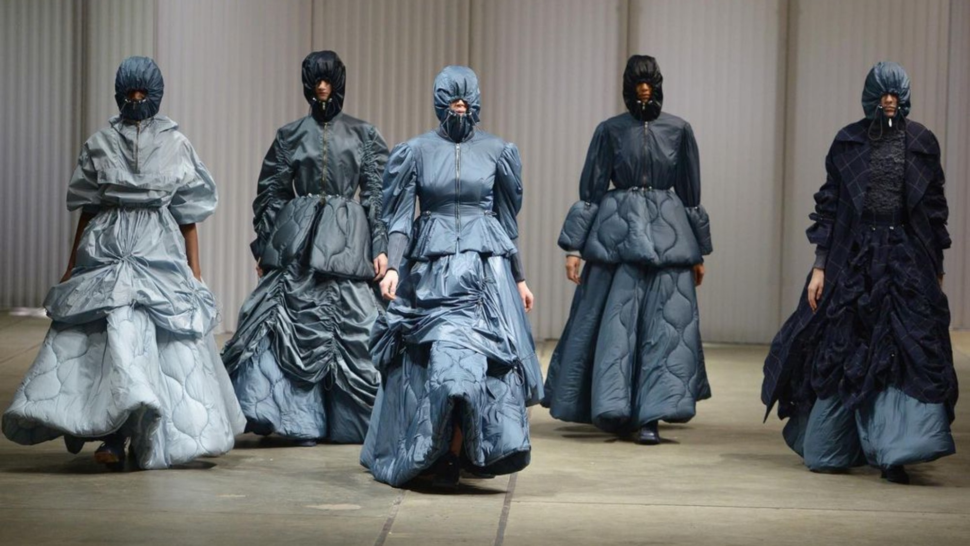 Idaliina Fridman's collection of dresses made from renewable materials showcased by models on the runway