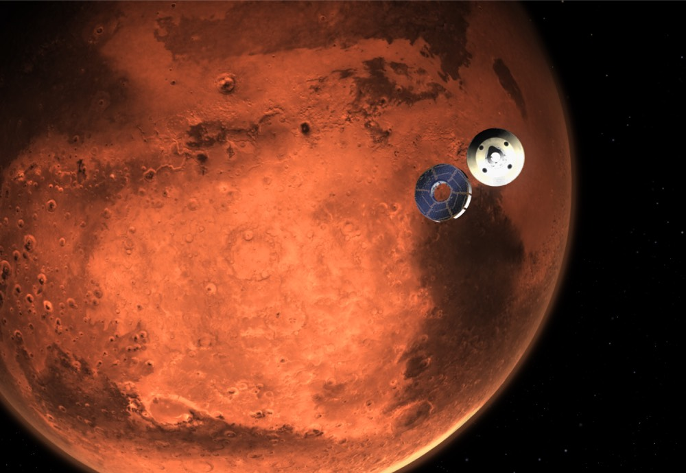 An illustration of a base on Mars