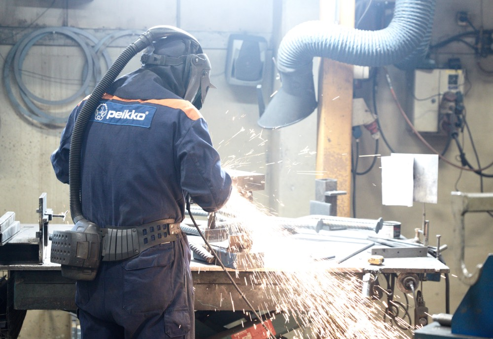 Peikko factory working welding