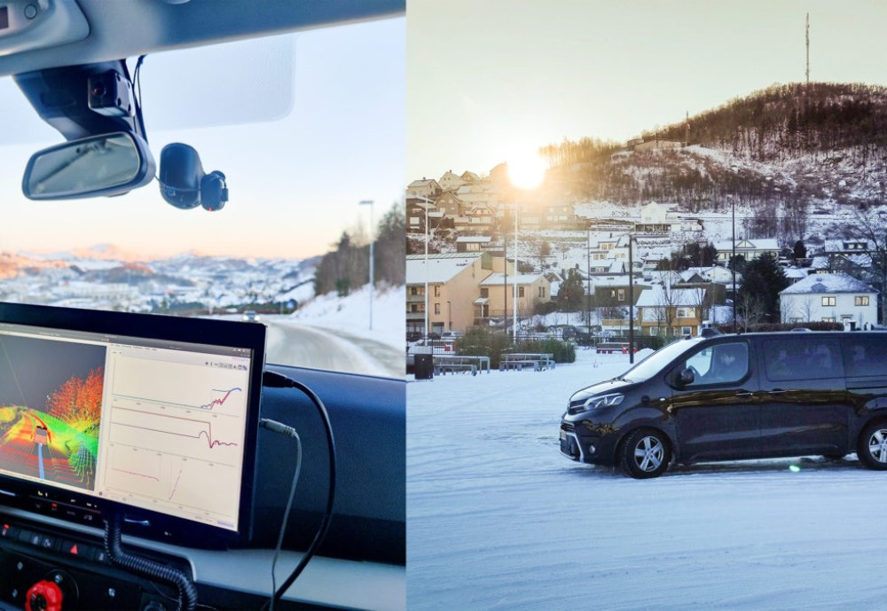 A split picture of a van and self-driving software