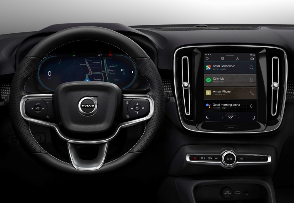 The dashboard of a Volvo car featuring a display with Android applications