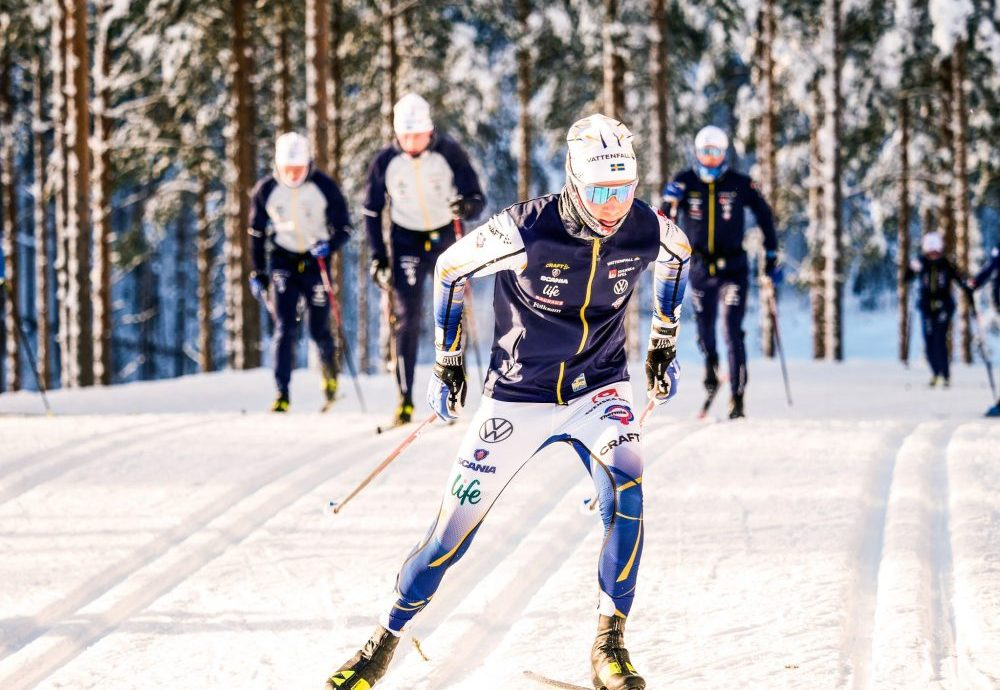 Young cross-country ski athletes competing
