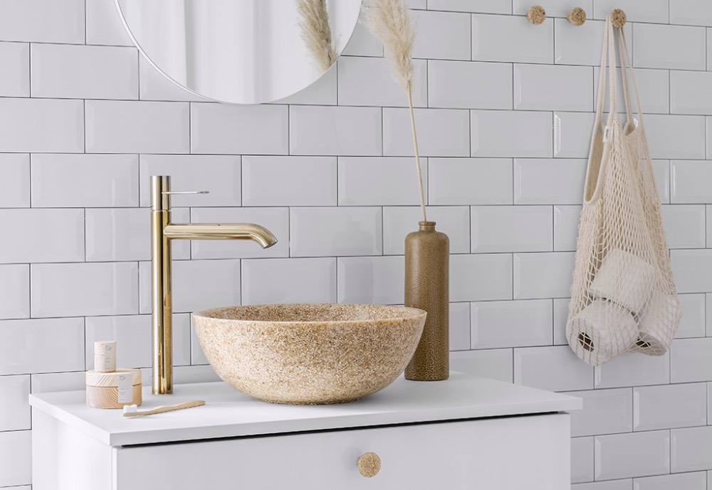 A bathroom wash basin made of Woodio's eco-material