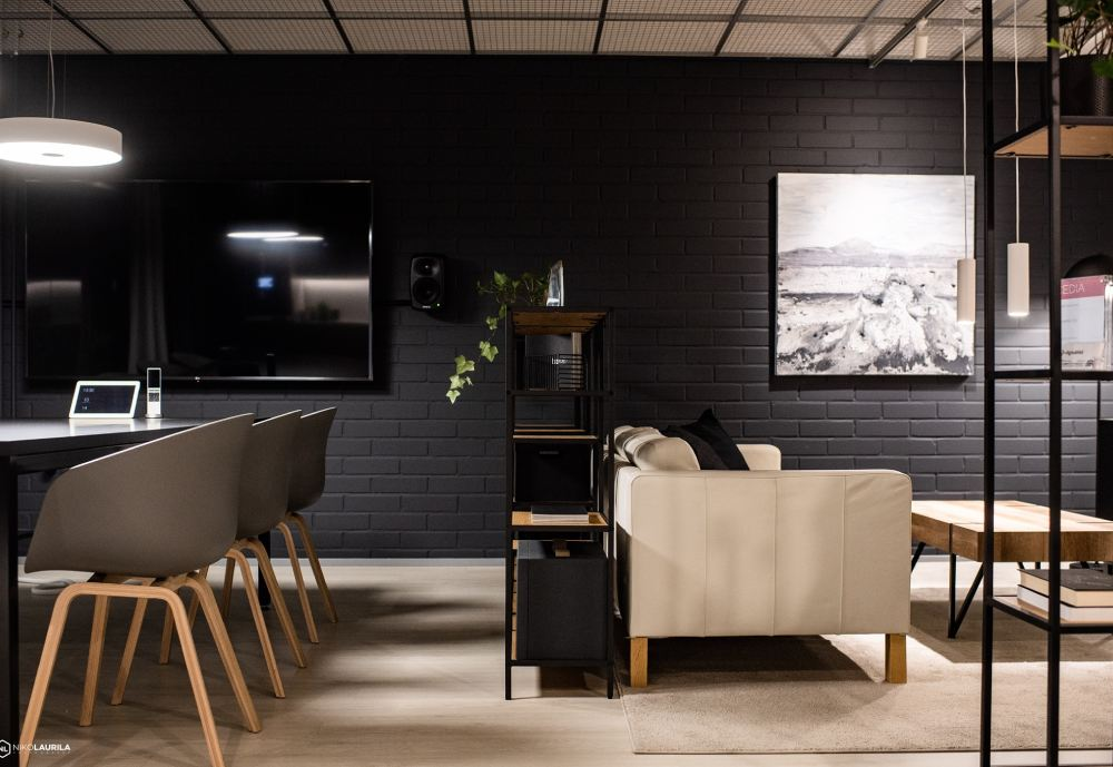 Interior design with dark grey and white details