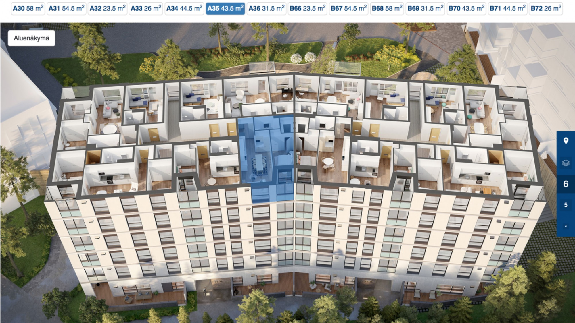An interactive 3D model of a large housing building seen from above with the different sized apartments in full view