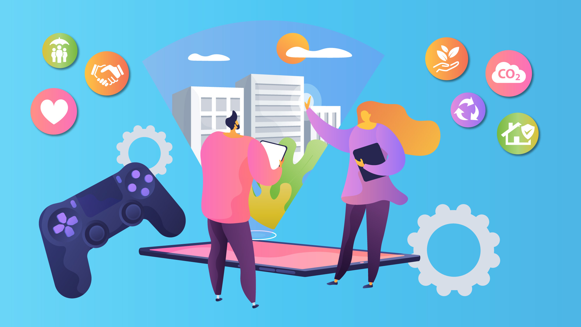 illustration depicting games with a purpose