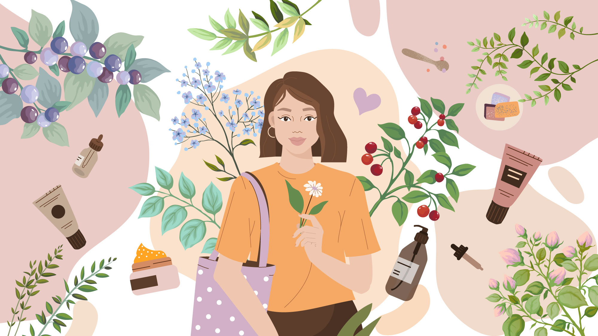 collage of woman and beauty products and nature