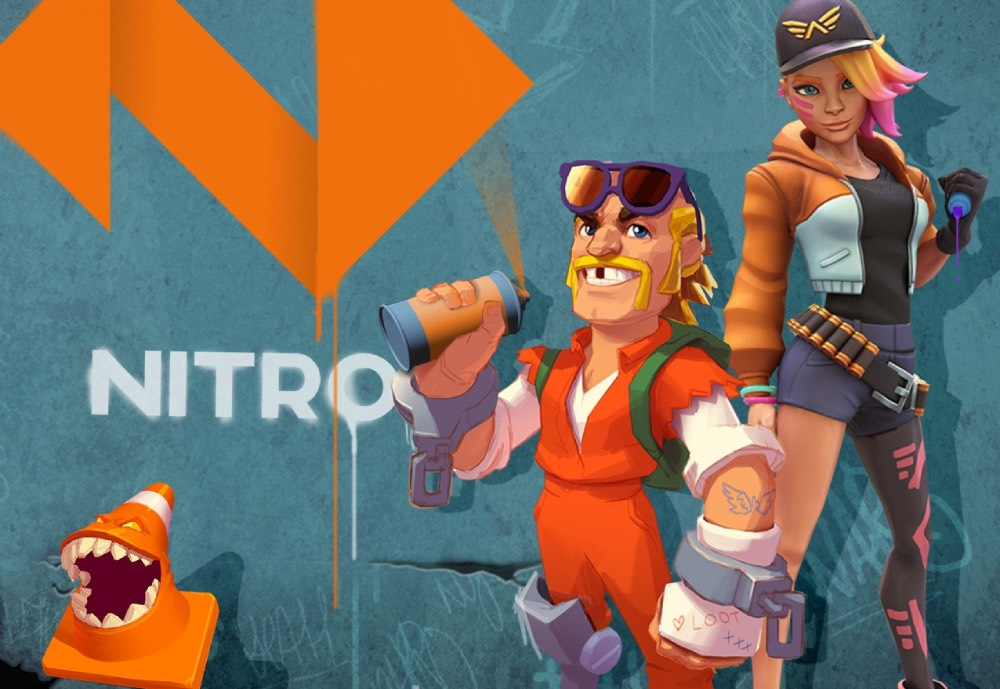 Three game characters and the word Nitro sprayed with graffiti on a wall