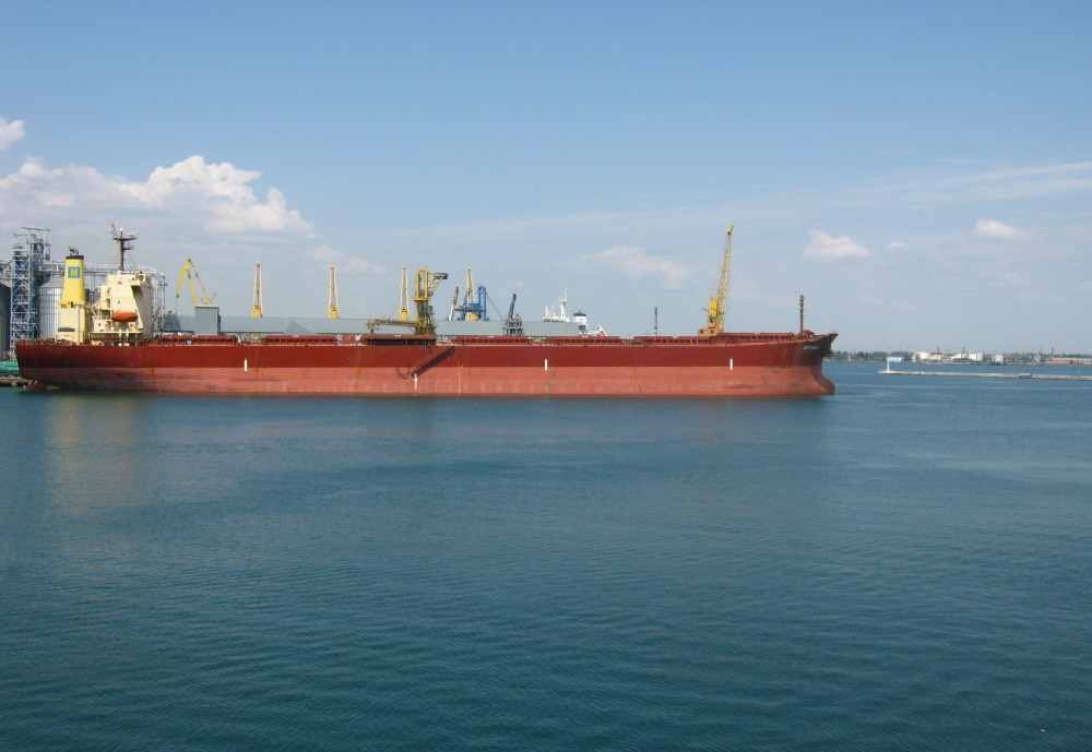 A tanker ship at harbour