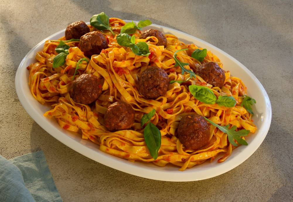 a plate of Solar Foods' 'meatballs' and spaghetti