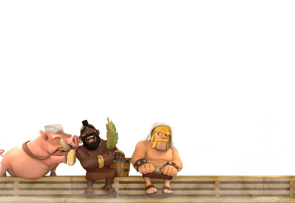 Supercell gaming characters in sauna