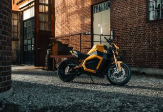 electric motorcycle in back alley