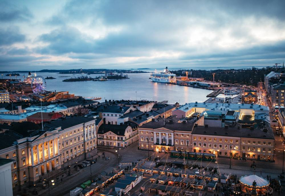 Helsinki waterfront from the air