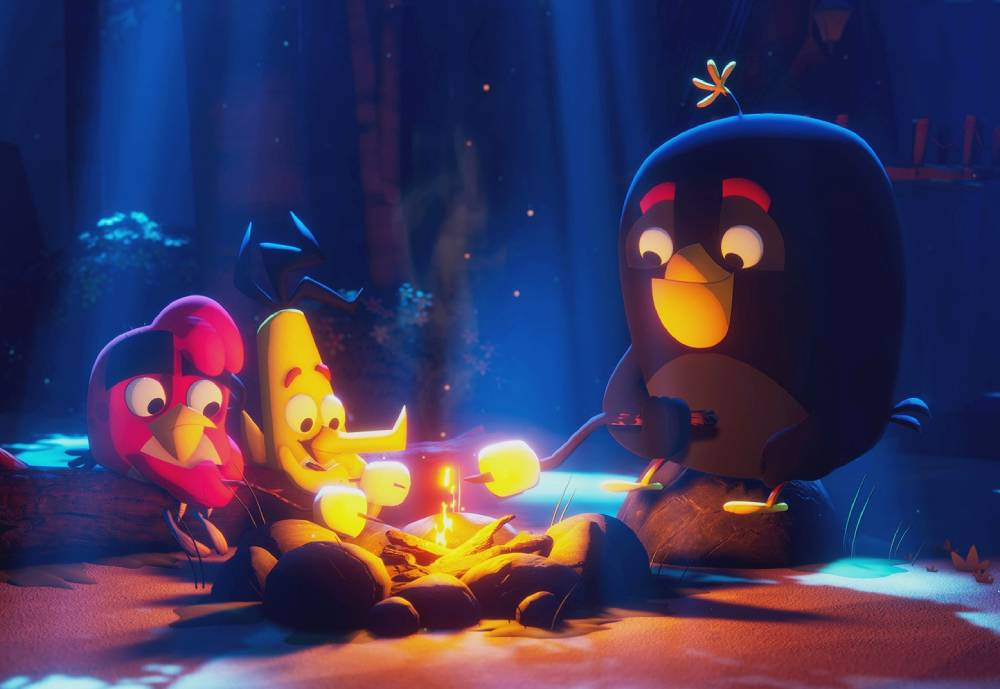 Angry Birds characters making food at a camping site