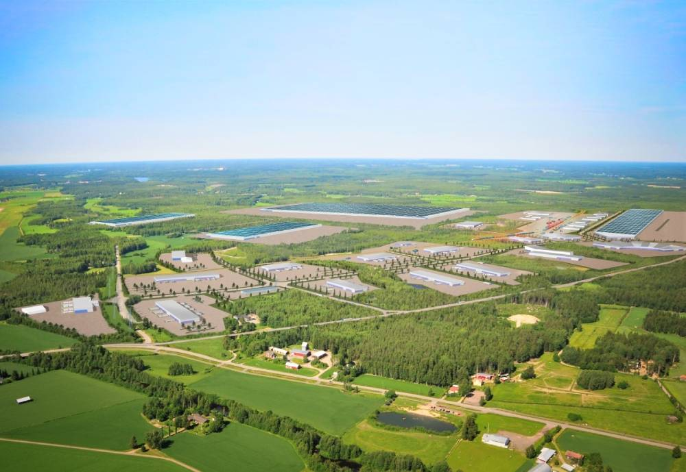 Illustrations of production facilities on an aerial image of an industrial area.