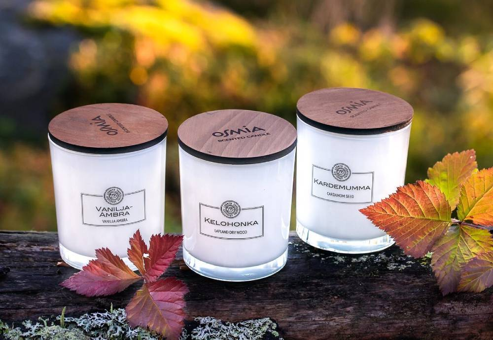 Osmia's candle products on a log