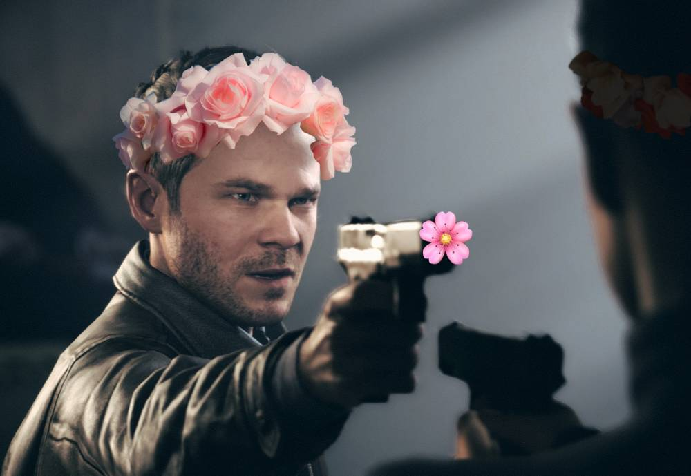 Remedy's video game character aiming a gun