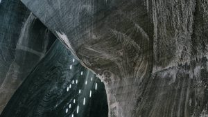 Stalactites on the walls of a salt mine in Romania.